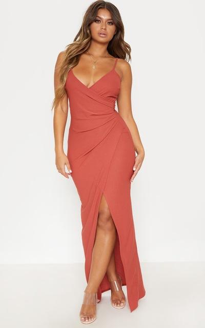 Terracotta Wrap Front Crepe Maxi Dress