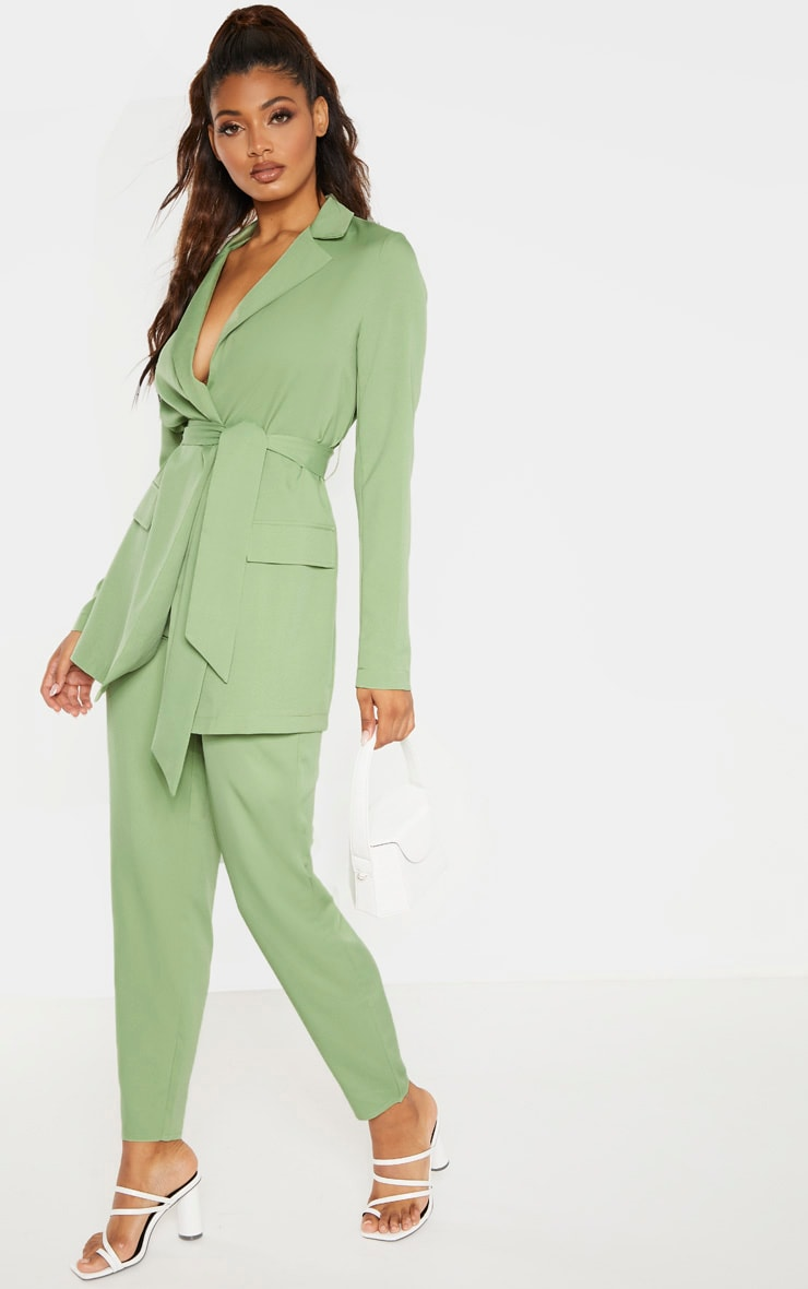 Tall Sage Green Wide Leg Slim Cuff Suit Trousers 1