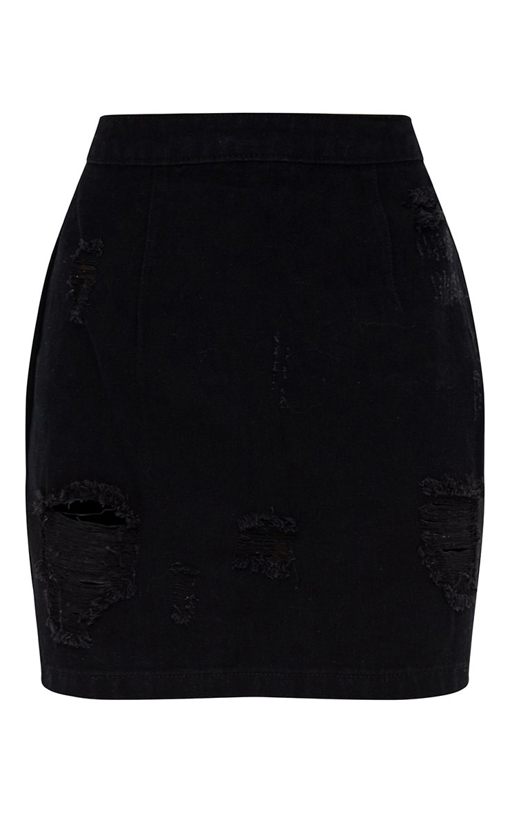 Black Open Thigh Rip Denim  Mini Skirt 3