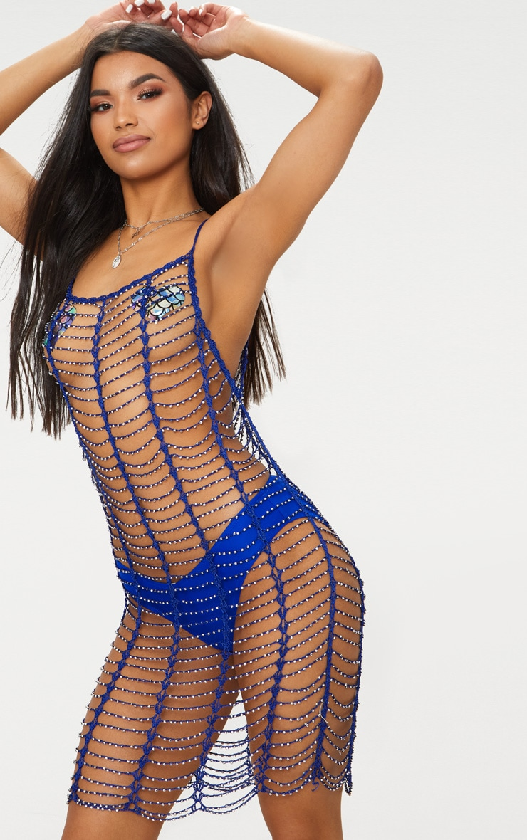 Cobalt Crochet Beaded Dress 1