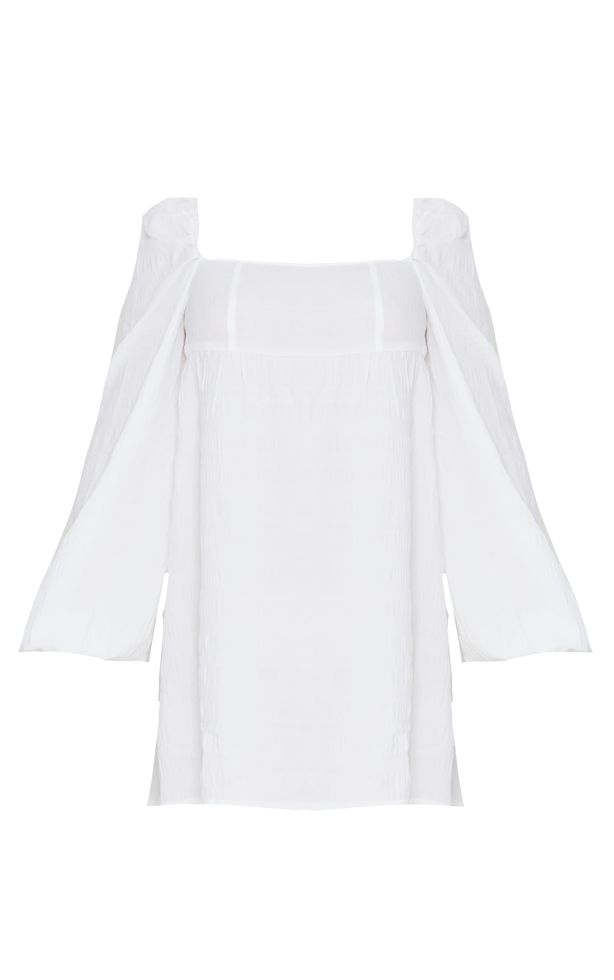 White Textured Square Neck Puff Sleeve Smock Dress 5