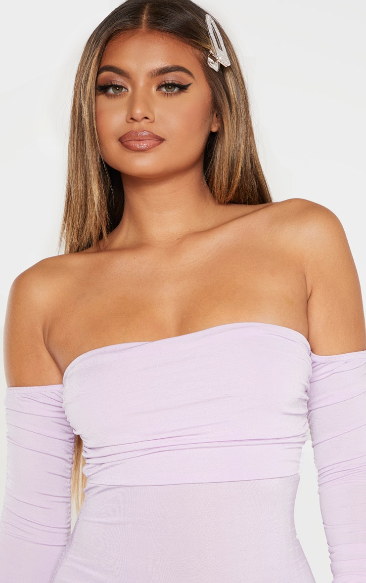 Lilac Ruched Front Arm Bardot Bodycon Dress 5