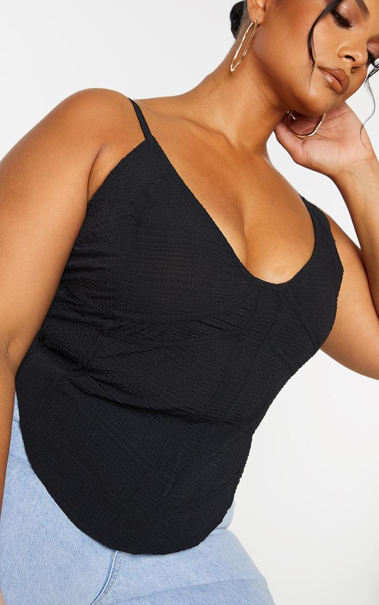 Plus Black Textured Seam Detail Corset Cami Top 4