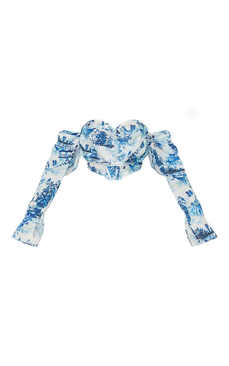 Blue Floral Printed Satin Draped Bardot Long Sleeve Corset 5