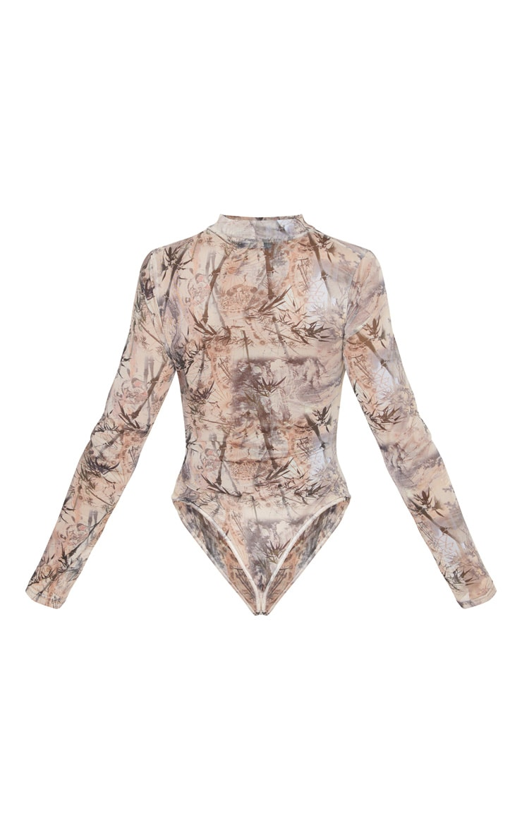 Brown Printed Mesh High Neck Cut Out Bodysuit 6