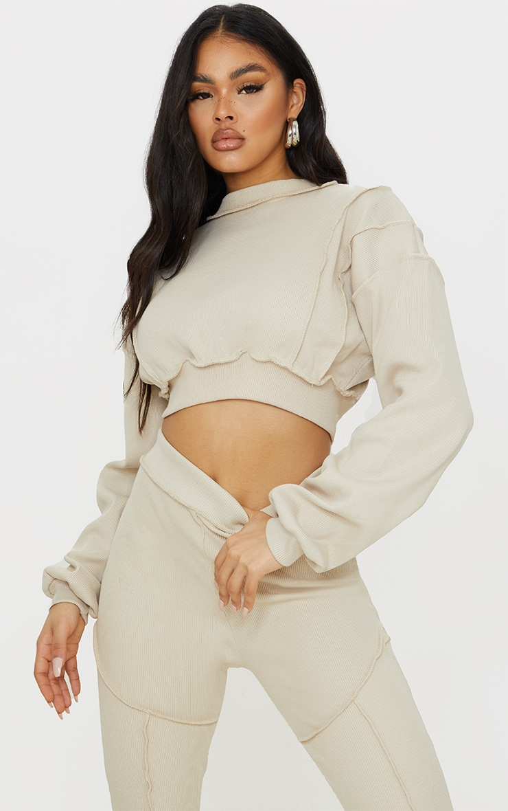 Sand Heavy Ribbed Overlock Detail Cropped Sweater 1