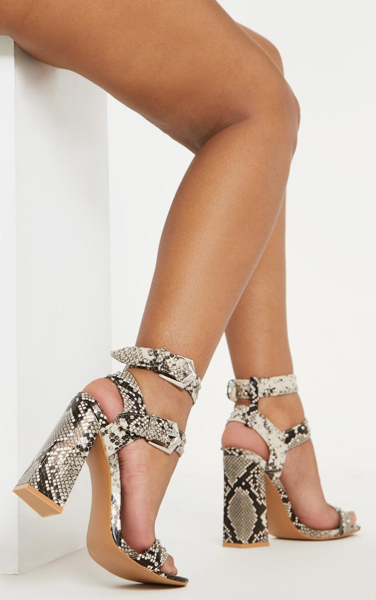 Snake Print Buckle Detail Studded Block Heel Sandal 1
