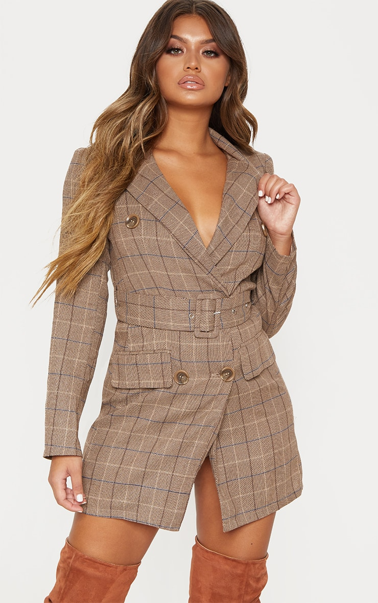 Brown Check Belted Blazer Dress 4