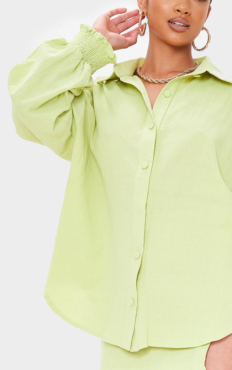 Petite Lime Oversized Shirred Cuff Linen Feel Shirt 4