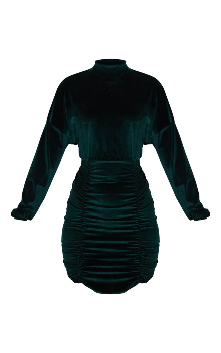 Emerald Green Velvet High Neck Long Sleeve Ruched Bodycon Dress 3
