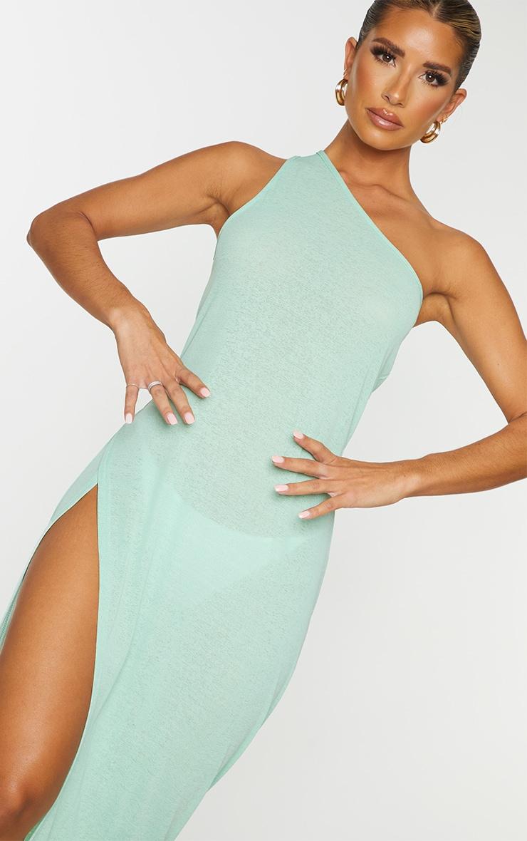 Green One Shoulder Split Maxi Beach Dress 4