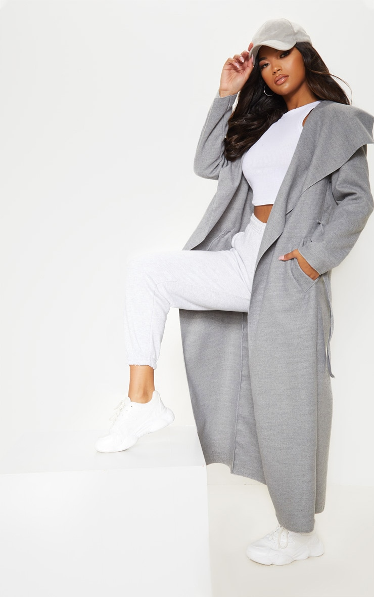 Grey Maxi Length Oversized Waterfall Belted Coat 4