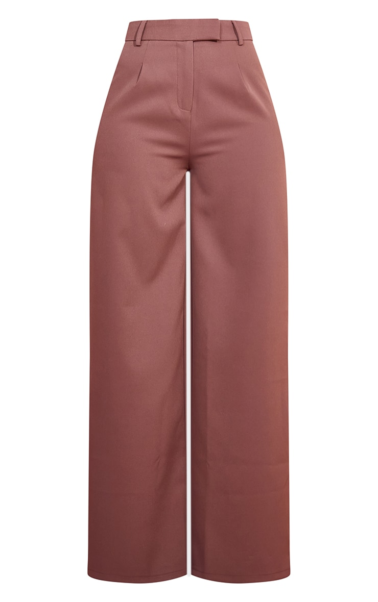 Dusty Brown Woven Tailored Wide Leg Trousers 5