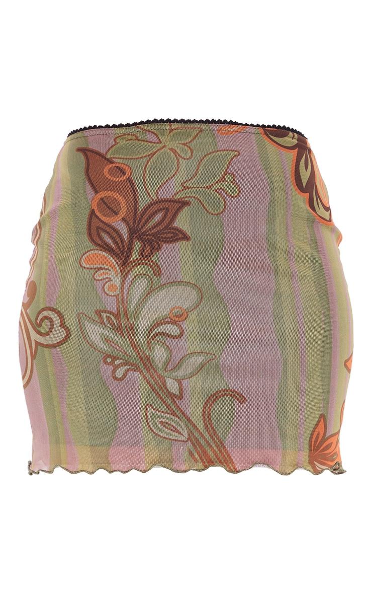 Mini-jupe en mesh vert imprimé tourbillons à ourlet légèrement volanté 6