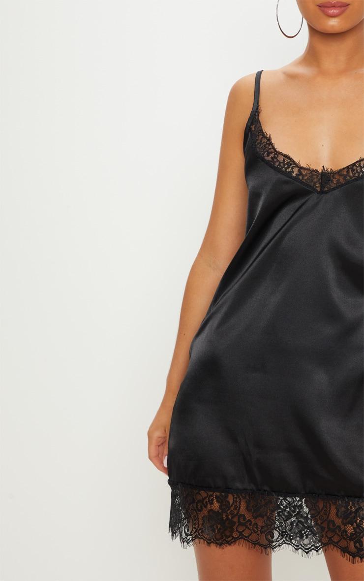 Black Satin Lace Insert Slip Dress  5
