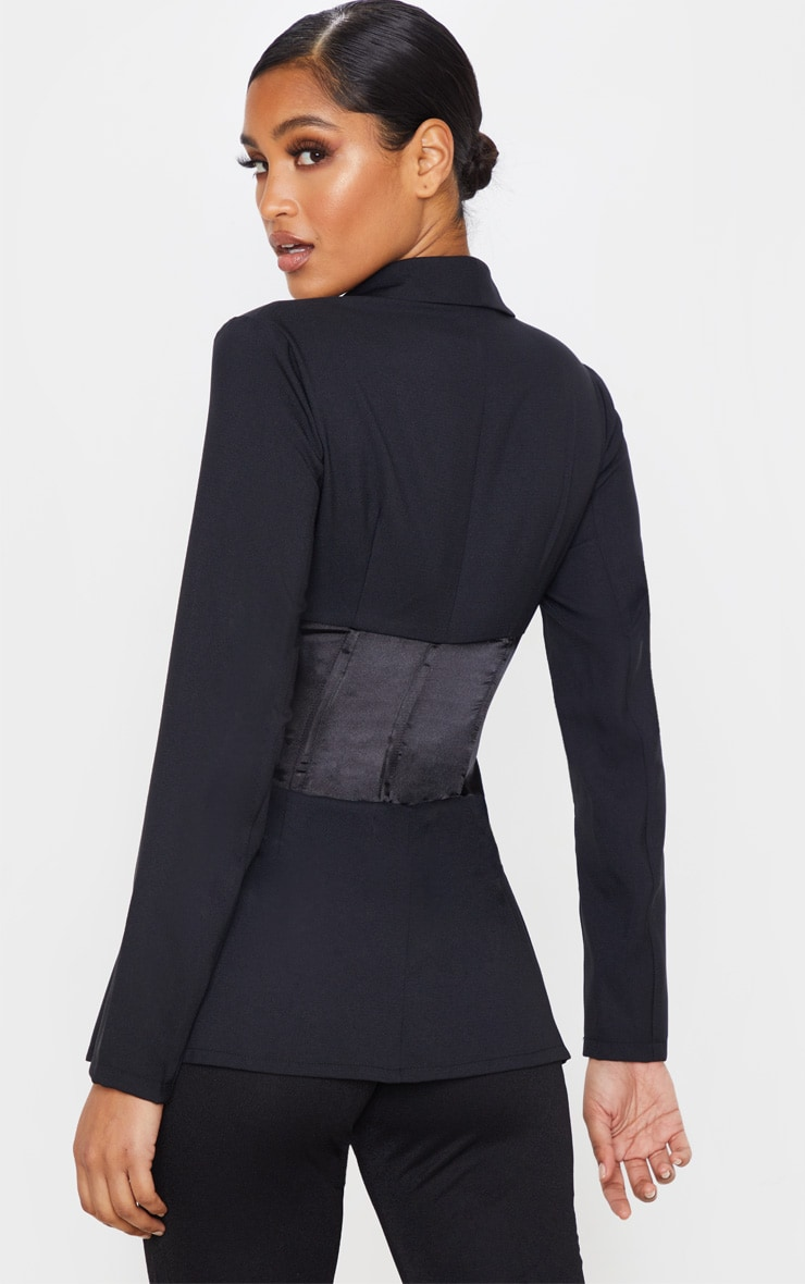 Blazer tissé noir à corset satiné contrastant 2
