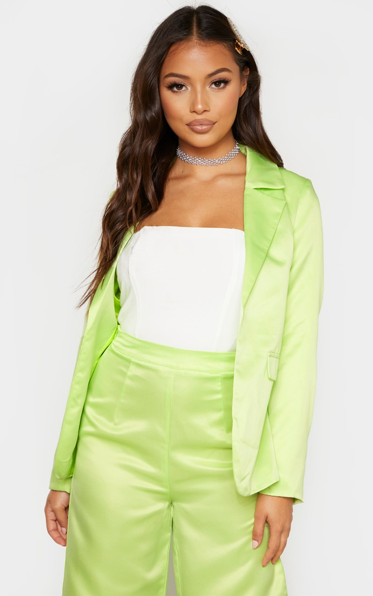 Petite Pale Lime Satin Oversized Blazer  1