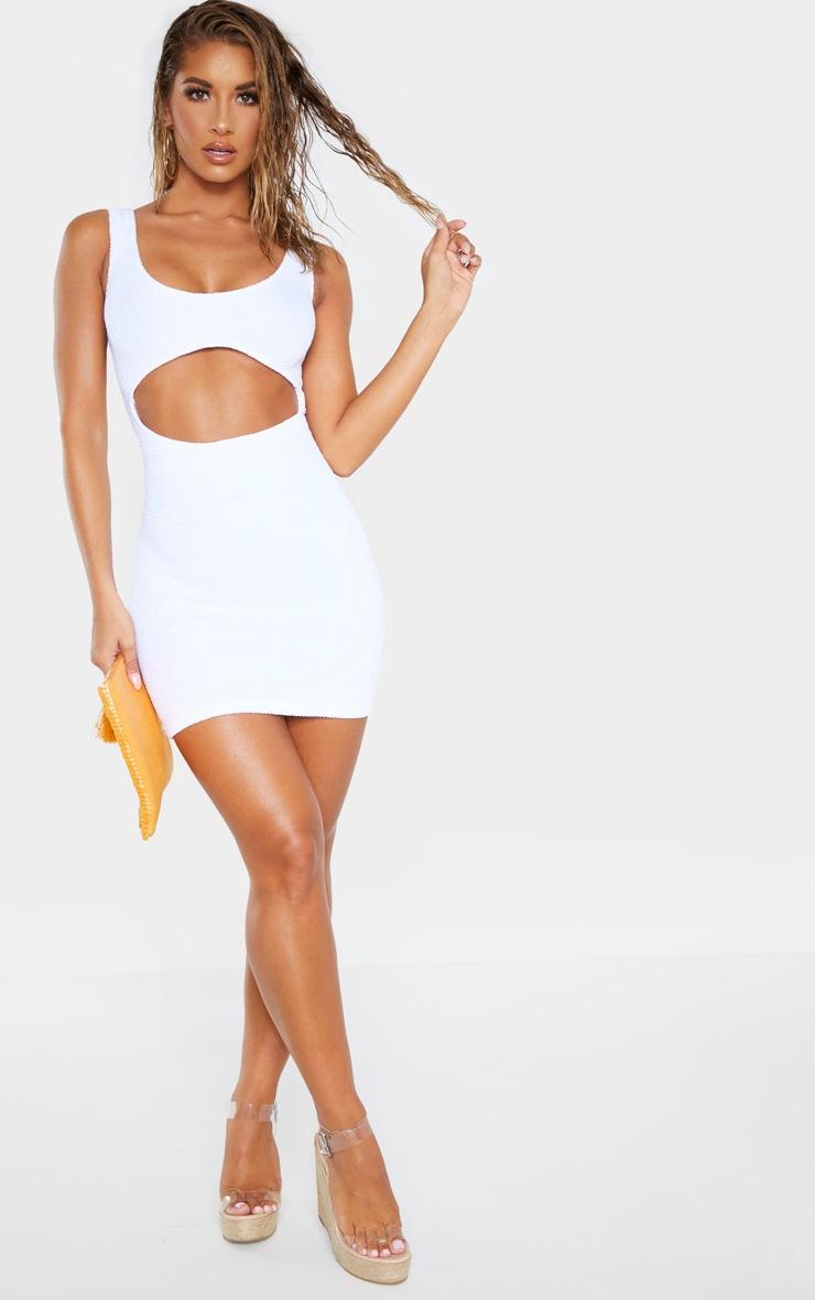 White Crinkle Cut Out Beach Dress 4