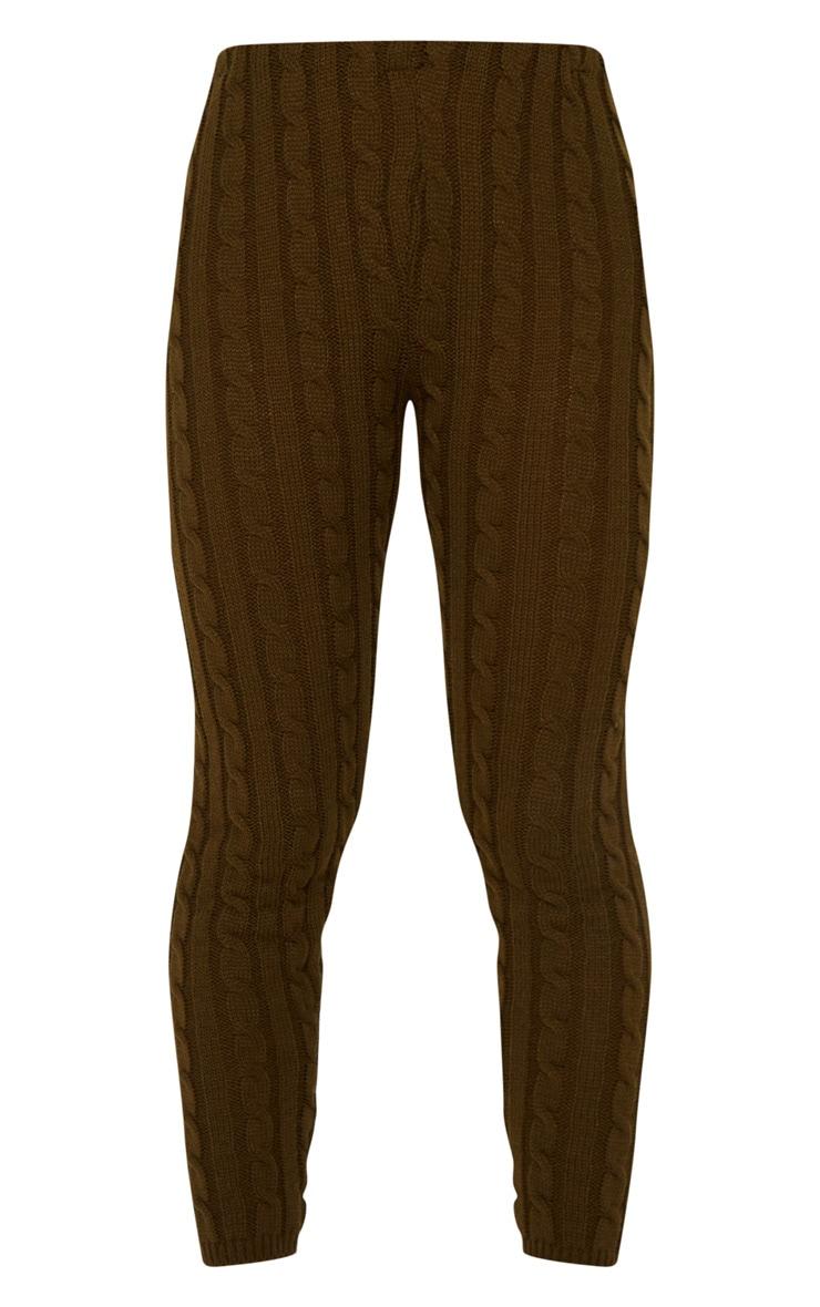 Khaki Cable Knit Crop Jumper & Legging Set 4