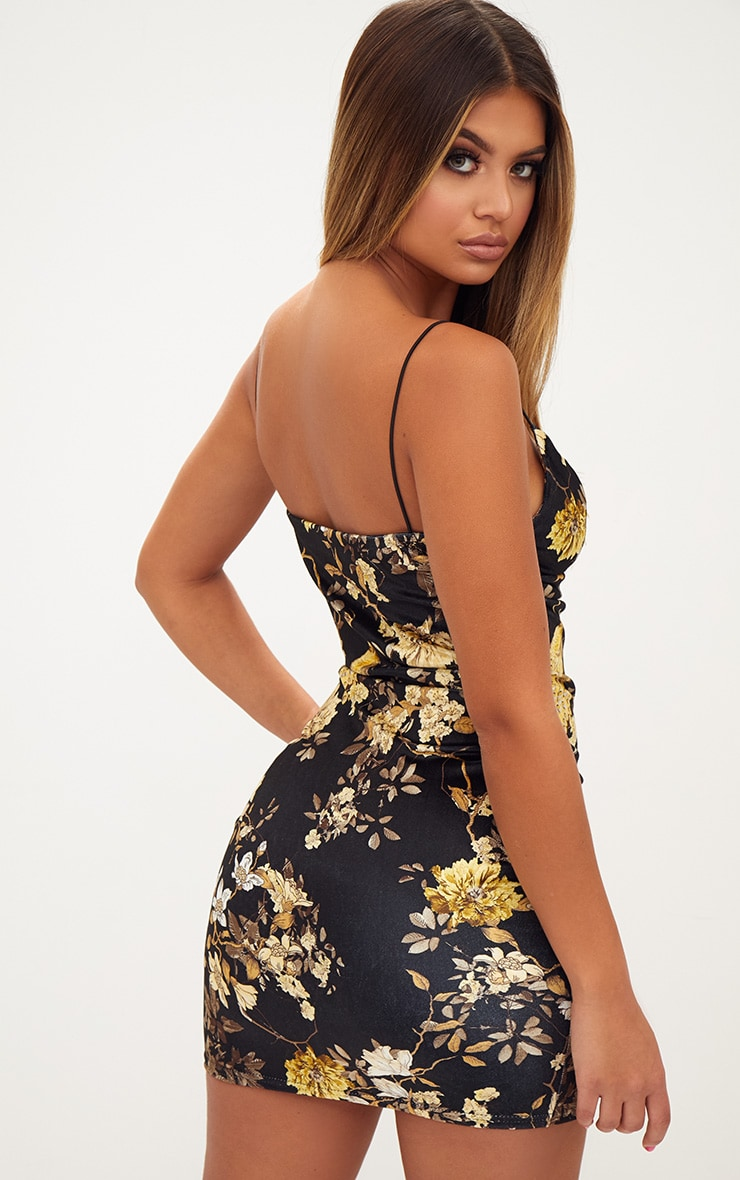 Black Velvet Floral Cowl Neck Bodycon Dress 2
