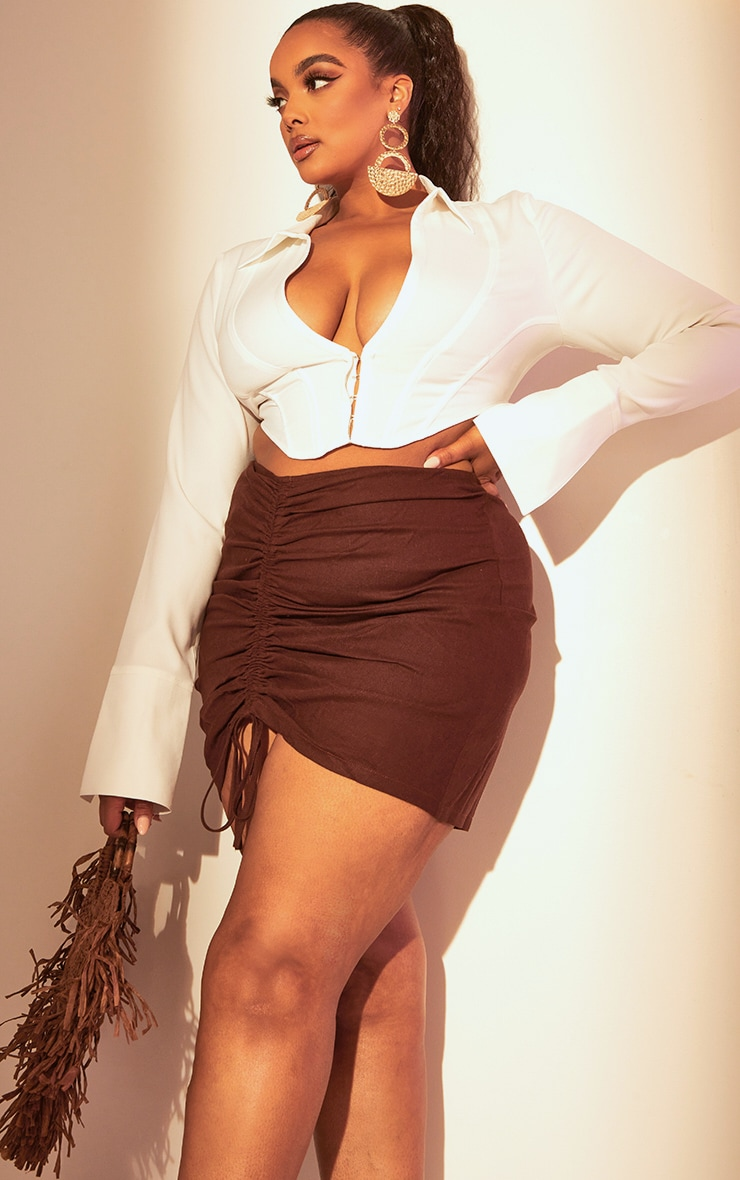 Plus Chocolate Brown Ruched Mini Skirt 4