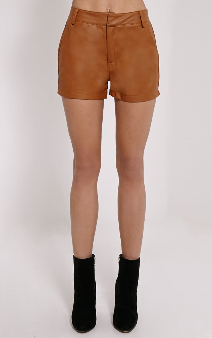 Pattie Tan Faux Leather Shorts 2