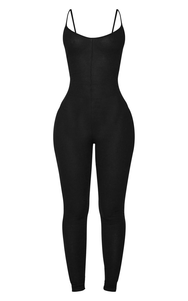 Shape Black Brushed Rib Strappy Jumpsuit 5