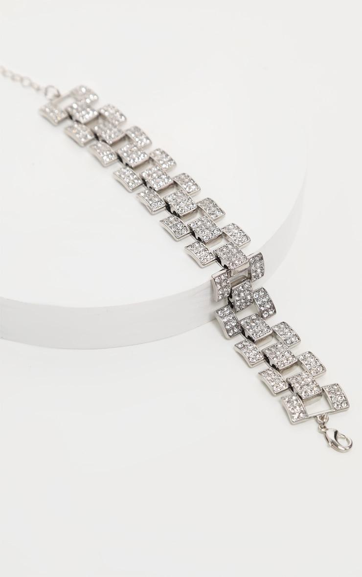 Bracelet de cheville à chaîne argentée à strass 2