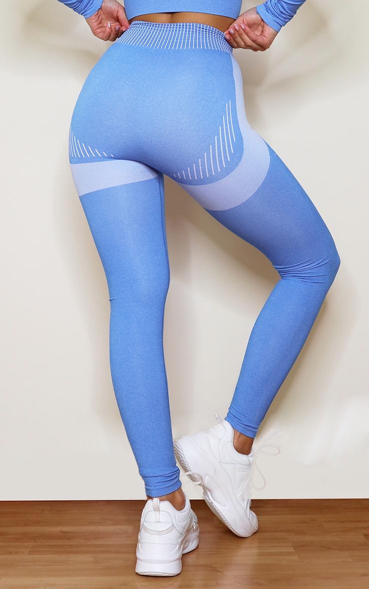 Blue Contrast High Waist Seamless Gym Leggings 3