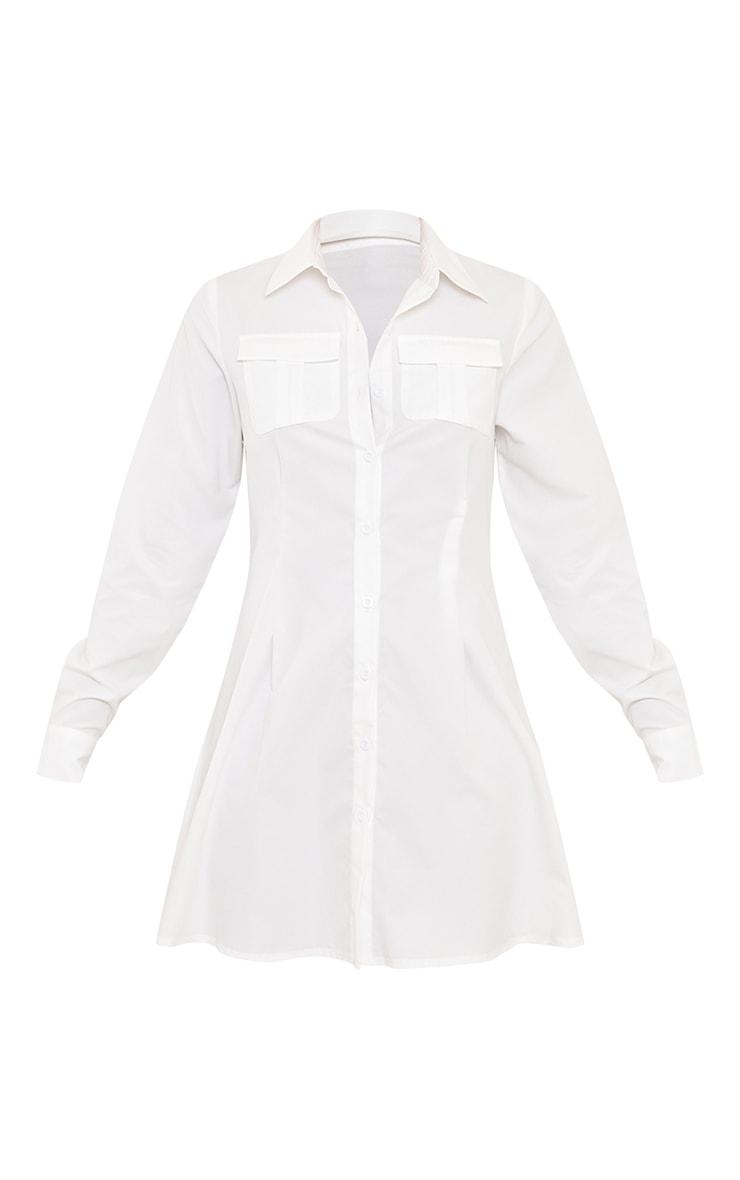 White Pocket Pleated Skirt Detail Shirt Dress 5