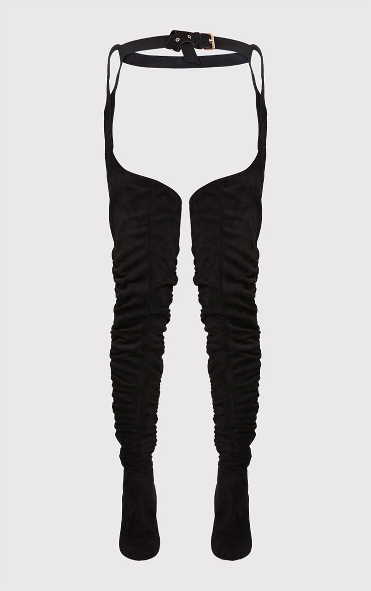 Beksie Black Belted Thigh High Boots 4