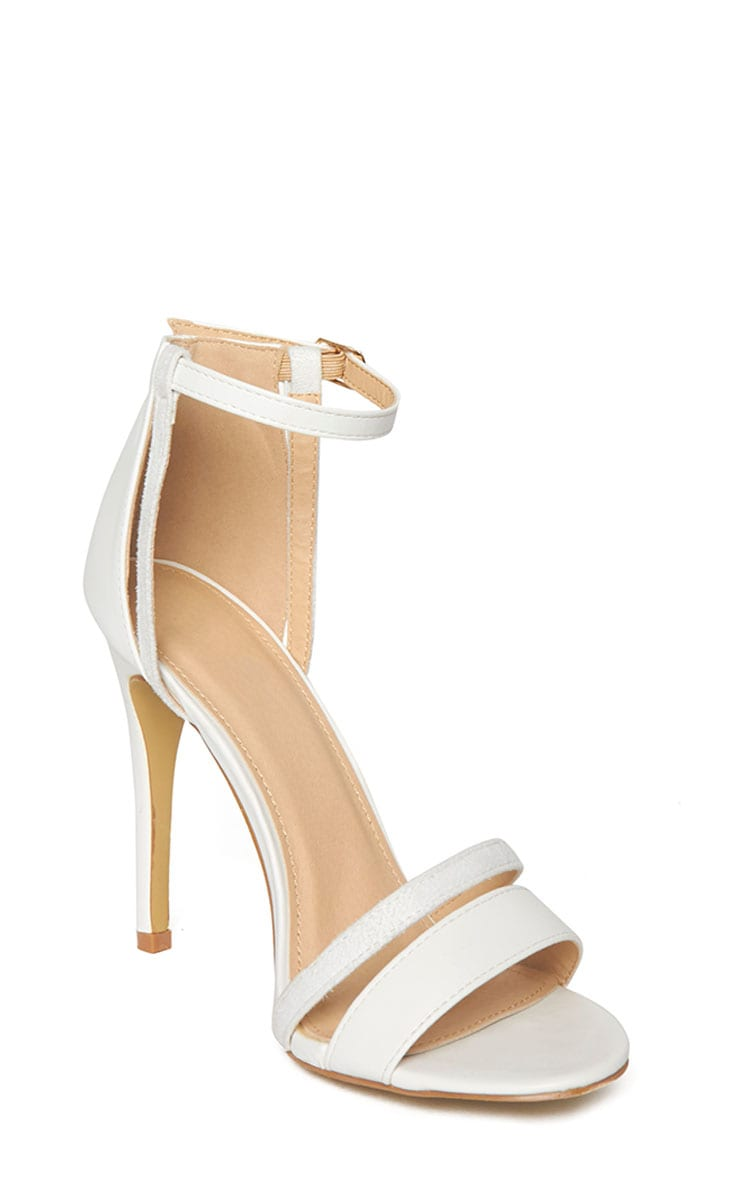 Cassia White Strap Heeled Sandals 6