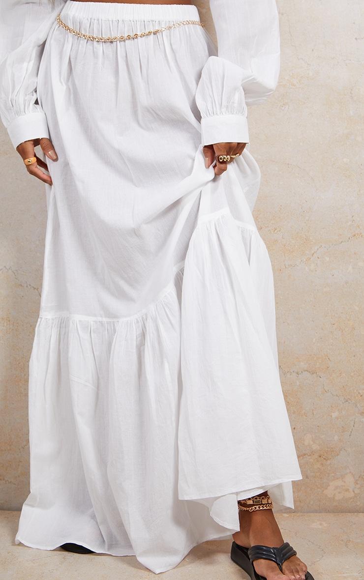 White Linen Feel Maxi Skirt 2