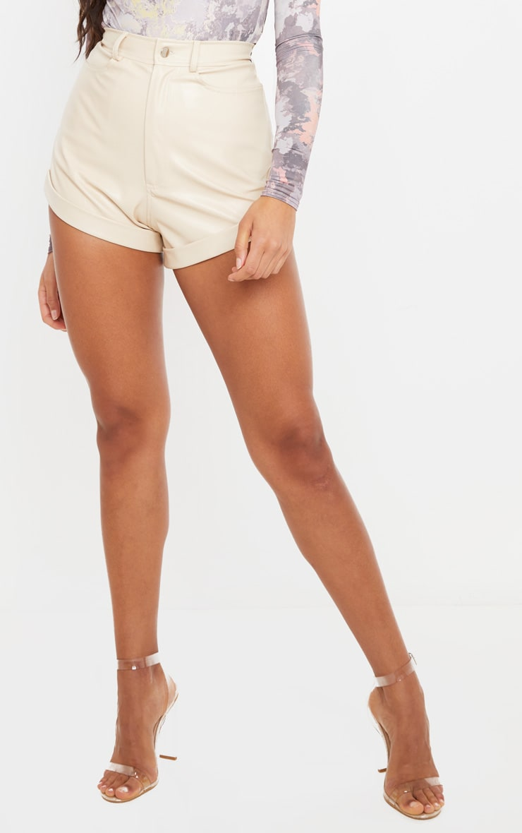 Cream Faux Leather Turn Up Hem Detail Shorts 2