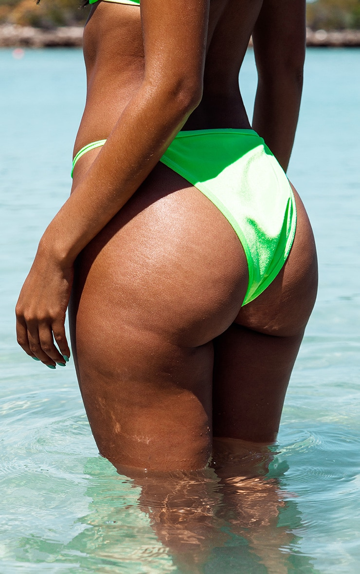Neon Green Velvet High Leg Bikini Bottom 4