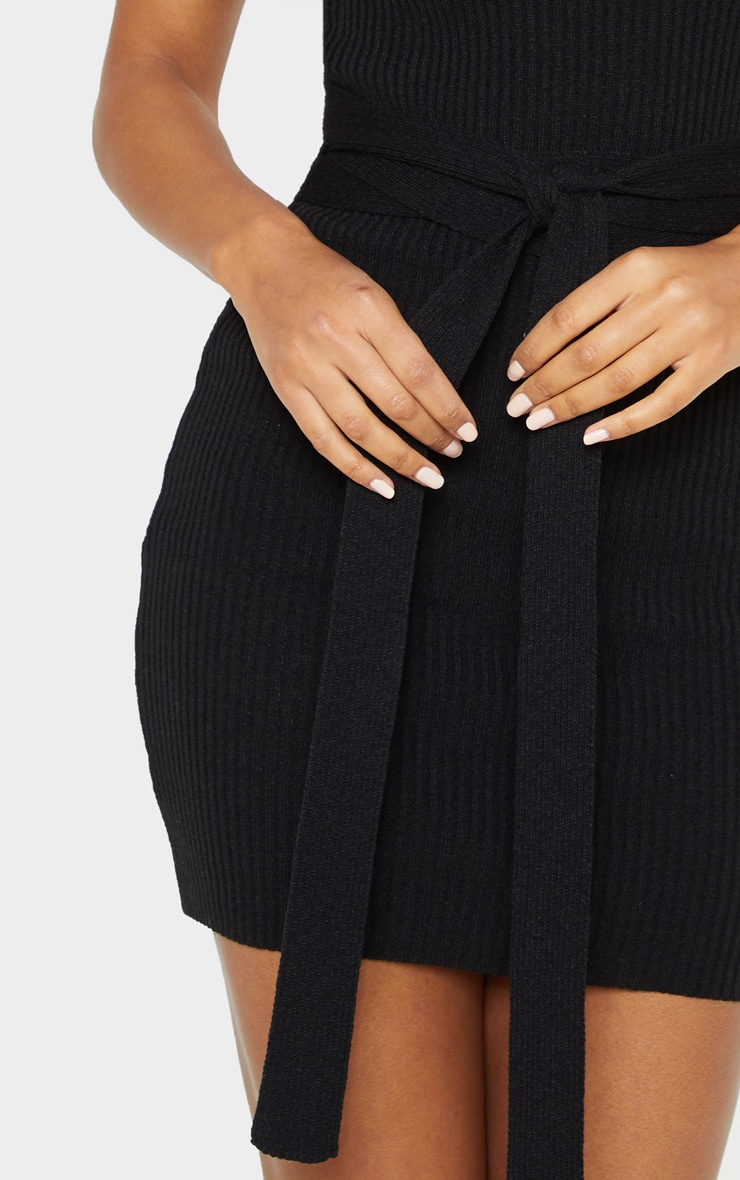 Black Knitted Tie Detail Bodycon Dress 5