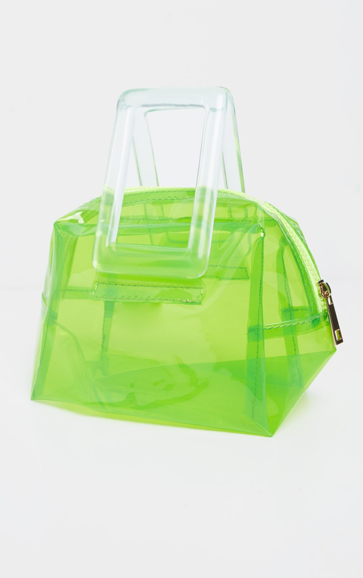 Neon Lime Clear Resin Handle Mini Bag 2