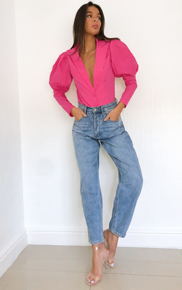 Bright Pink Woven Puff Sleeve Button Front Shirt 3