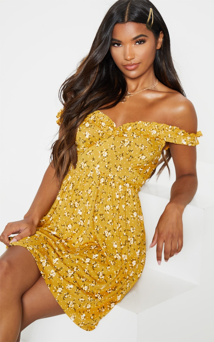Mustard Ditsy Floral Print Ruched Strap Cup Detail Shift Dress 1