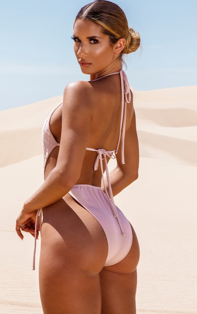 Nude Beaded Grid Cut Out Swimsuit