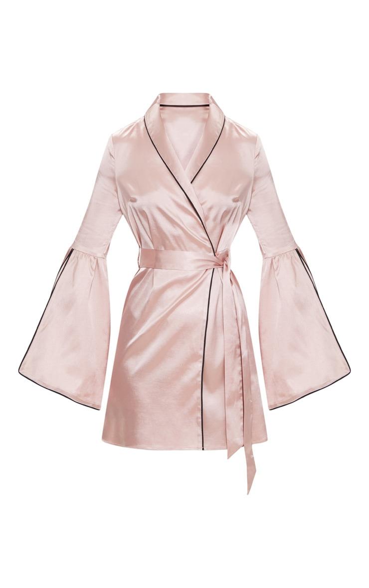 Nude Satin Flare Sleeve Binding Detail Blazer Dress 3