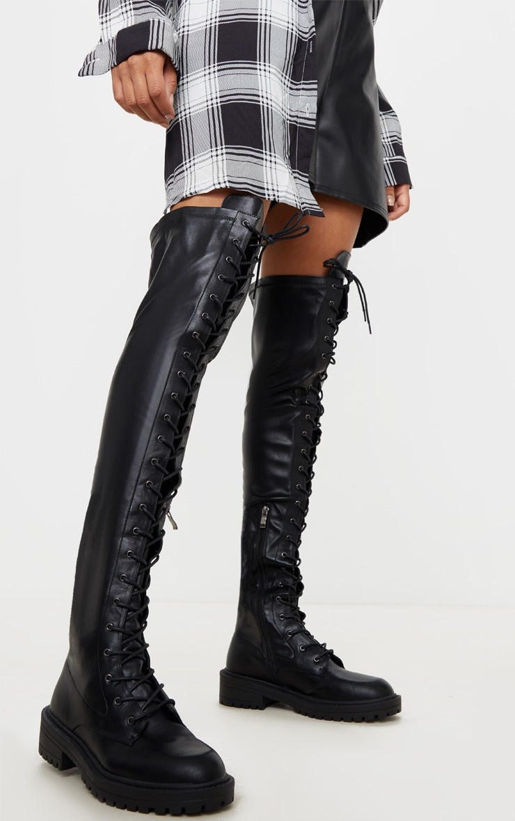 Black Lace Up Cleated Flat Over The Knee Boot 1