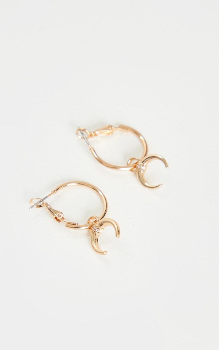 Gold Mini Hoop With Bull Horn Earrings 2