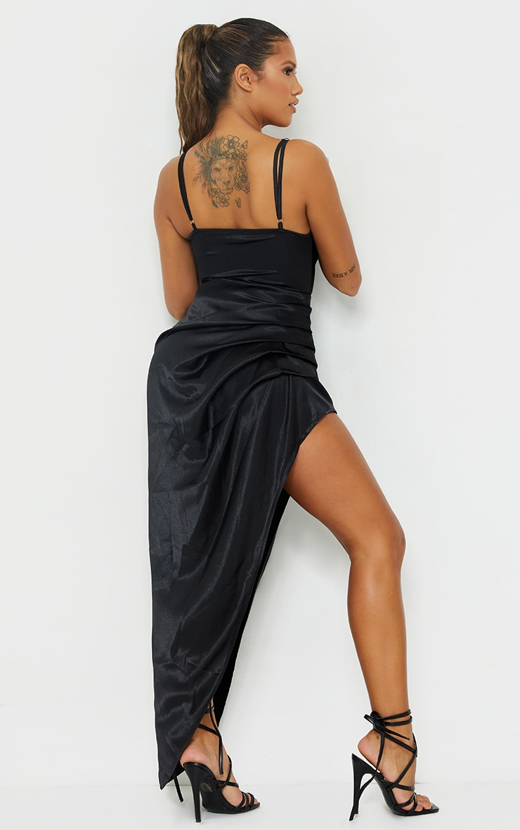 Shape Black Satin Cowl Side Split Ruched Maxi Dress 2