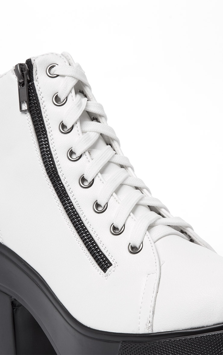 Mila White Lace Up Boot  5
