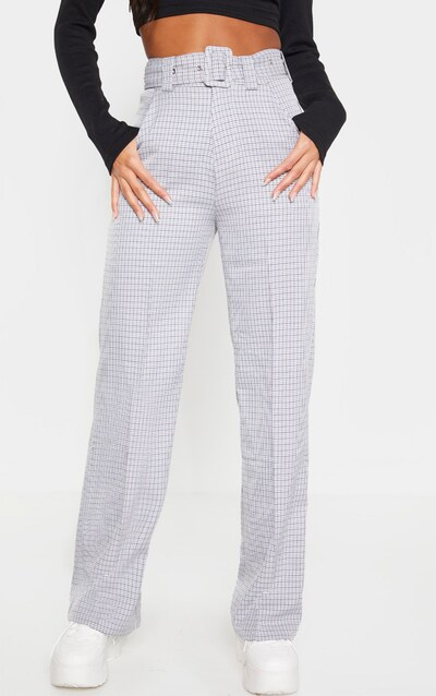 Black Check Belted Wide Leg Trouser