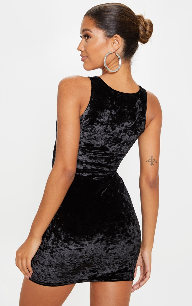 Black Velvet Sleeveless Sweetheart Neck Bodycon Dress 2