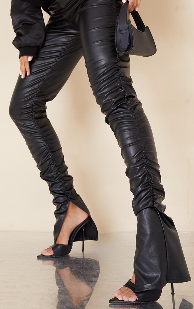 Black Faux Leather Ruched Leg Split Hem Leggings 4