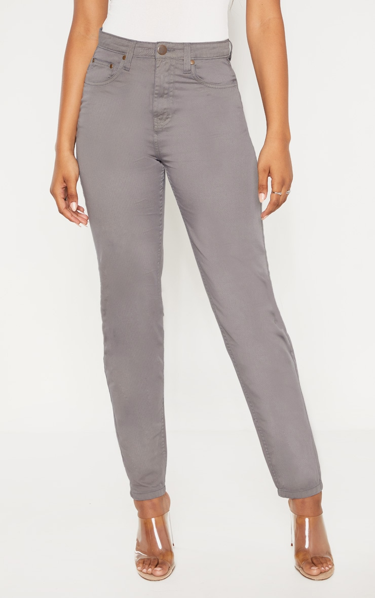 Tall Grey Denim Mom Jeans 2