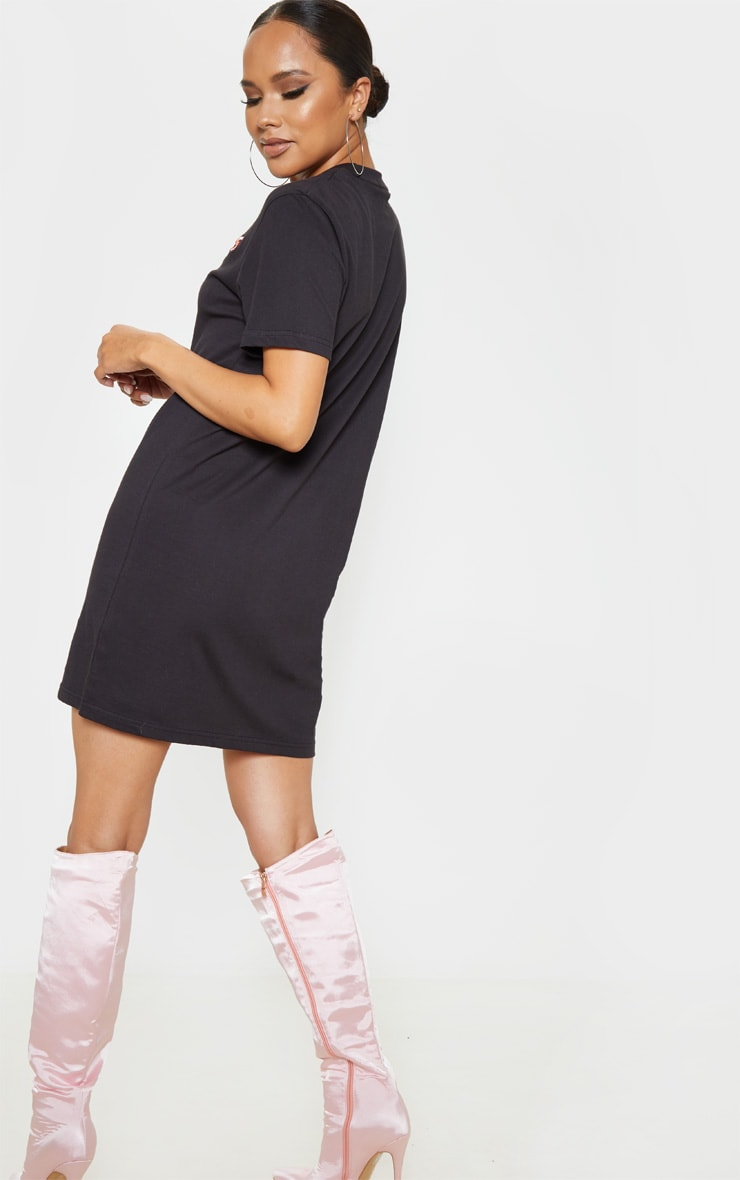 Black Lies Slogan Embroidered Oversized T Shirt Dress 2
